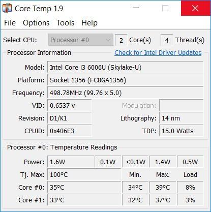 برنامج Core Temp - ويكي ان